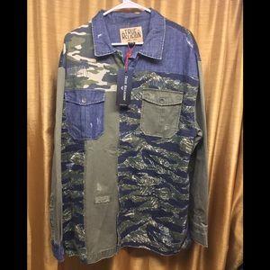 Mixed Camo Denim Patch Button Down Shirt